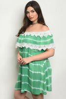 Women's Plus Size Green and White Tie Dye Off Shoulder Lace Accent Dress 3XL NEW