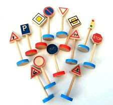 wooden toy traffic signs play set , 13 piece , kids toy
