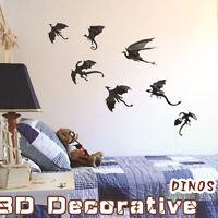 7pcs Modern Art Removable Dinosaur DIY Decal Vinyl 3D Wall Stickers Home Decor