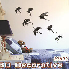 7pcs Modern Art Removable Dinosaur DIY Decal Vinyl 3D Wall Stickers Home Decor