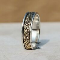 925 Sterling Silver Spinner Ring Wide Band Meditation Statement Jewelry A182