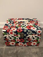 VINTAGE 1960s-70's Flower Power Carry Case Hippie Art Sewing Box Storage Handle