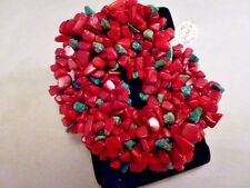 "GORGEOUS! RED / green SEA CORAL GEMSTONE STRETCHY 8 "" CHIP BRACELET"