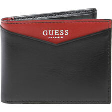 Guess Men's Huntington RFID Blocking Genuine Black/Red Leather Wallet