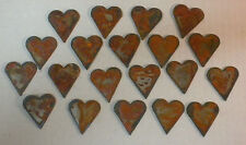 Lot of 20 Rusty Rough Hearts 1.5 in Metal Wall Art Stencil Ornament Craft Magnet