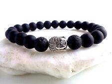 MEN'S Matte Black Onyx Lava Gemstone Bead Silver Buddha Beaded Jewelry Bracelet