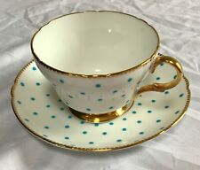 SHELLEY TURQUOISE BLUE & WHITE POLKA DOT CUP & SAUCER GOLD TRIM HENLEY SHAPE