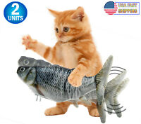 Cat Flipping Flopping Fish Cat Toy Motion Activated Motorized Cat Plush Toy USB