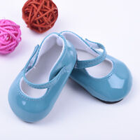 For 18inch Doll Party Kid Gifts Handmade Blue Leather Boots Shoes Hot