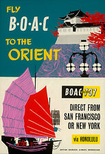 ORIGINAL Vintage Airlines Travel Poster BOAC Orient SAN FRANCISCO NY Honolulu