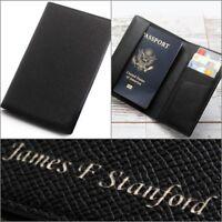Free Engraving RFID Blocking Travel Leather Passport Case Card Holder ID Wallet