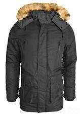 Men's Heavy Parka Jacket Winter Warm Detachable Fur Coat Zip Up Outwear New