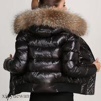 New Womens Genuine Fur Hooded Leather Short Coats Waterproof Winter Warm Jackets