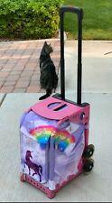 "Zuca ""Unicorn"" Rolling Ice Skate Bag w  Light Up Wheels/Pink Frame. Cute!"