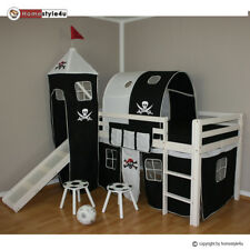 Kinderbett Hochbett Spielbett Kiefer Piratenbett Pirat weiß Rutsche Turm Tunnel