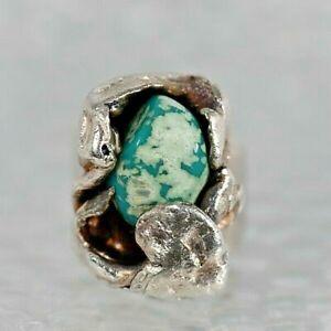 H. Alvin Sharp  Turquoise  Sterling Silver  Handmade  Ring  Mardi grass  King