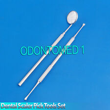 Dental Scaler Pick Tools Set with Inspection Mirror Stainless Steel 2 Pc For Pet
