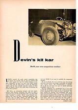 1955 DEVIN KIT KAR / COMPETITION ROADSTER  ~  ORIGINAL 3-PAGE ARTICLE / AD