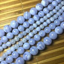 """High Quality Natural Blue Lace Agate Beads 6mm-12mm 15"""""""