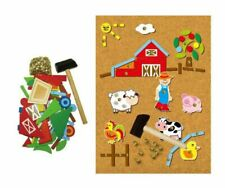 Kaper Kidz Wooden Farm Tap a Shape in Case -kids TANGRAM Hammer Cork & Nails