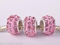 10pcs 12mm Rhinestone Silver Plated European Charm Loose Big Hole Beads Lt Pink