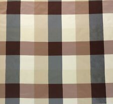 "DUPIONI SILK BOMBAY CHECK STRIPE CHOCOLATE ICE BROWN S3027 FABRIC BY YARD 54""W"
