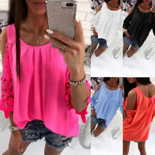 Womens Cold Shoulder Chiffon Tops Summer Ladies Lace Casual Baggy T Shirt Blouse