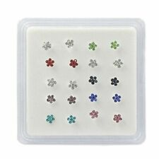 Women's Flower Rhinestones Nose Stud Silver Plated Body Piercing Jewelries 20Pcs
