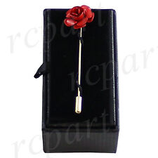 New in box Men's Suit brooch chest metal red flower shape Gold lapel pin formal