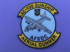 USAF LOCKHEED AC-130 GUNSHIP AFSOC AERIAL GUNNER PATCH MEASURES 5 X 4 1/4 INCHES
