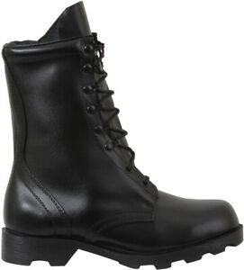 """Black Speedlace Combat Boots 10"""" Leather Military Tactical Army Rubber Sole"""
