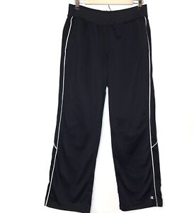 Champion Women's Black Warm Up Track Pants With White Stripe SZ M
