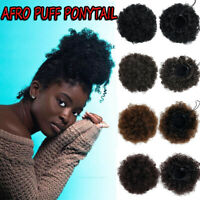Afro Curly Puff Ponytail Drawstring Hair Bun Extensions Clip in Hair Piece THICK