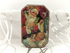 More details for rare santa/father christmas vintage blue bird/harry vincent toffee tin