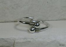 HEAVY TAXCO STERLING SILVER WRAPPED ACCENTED CLAMPER BANGLE BRACELET SIGNED