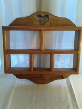 Vintage Wooden Knick Knack Hanging Display Wall Shelf With heart Cut Out/Pegs