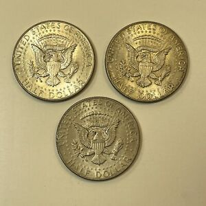 3x USA 1964 Kennedy Half Dollar - 90% Silver Coin