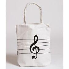 JSI White Canvas Tote Bag with Treble Clef Design - FRIENDLY & FAST SERVICE!