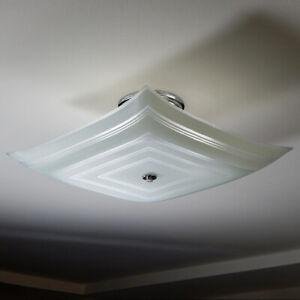 Semi-Flush Mid-Century Center Post Ceiling Light. Vintage Glass Shade New Custom