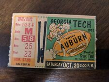 1973 Auburn vs Georgia Tech Football Ticket Stub Oct 20 1973