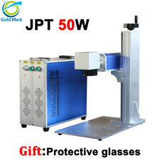 Jpt 50w fiber laser marking machine 110 200 300mm rotary optional metal engrave