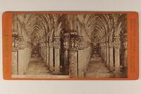 Italia Milan Interno Da La Cattedrale c1880 Foto Stereo Vintage Albumina