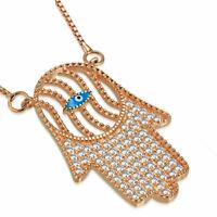 "925 Sterling Silver Rose Gold-Tone CZ Evil Eye Hamsa Pendant Necklace, 18"""