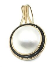 Mabe White Pearl Pendant with Black Onyx and 14k Yellow Gold Omega Backs