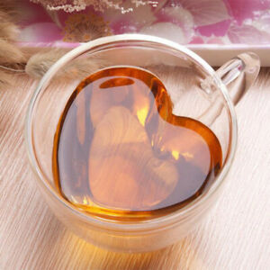 Double Wall Heart Shaped Clear Glass Tea Coffee Beer Cocktail Bar Drinking Cup O