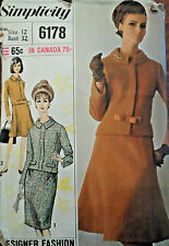 VTG 60s Misses' Suit: Slim Skirts & Lined Jacket Simplicity 6178 S12 Bust 32