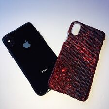 For iPhone X Crystal Bling Back Case made w/Tiny 9ss Siam Red Swarovski Crystals