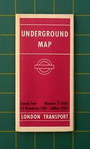 1939 No.1 London Underground Tube Railway Large Map Good Condition