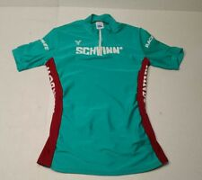 Vintage Schwinn Cycling Jersey Young Originals Green Red Womans Rainbow USA