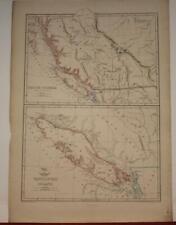 BRITISH COLUMBIA VANCOUVER ISLAND CANADA 1863 WELLER/DISPACH ATLAS ANTIQUE MAP